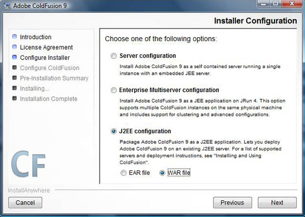 Install Coldfusion 9 WAR file
